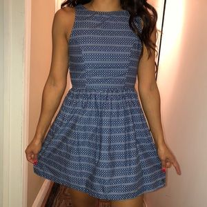 blue and white a-line/skater dress